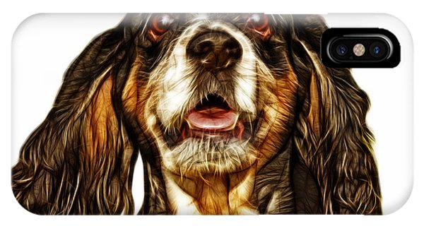 Cocker Spaniel Pop Art - 8249 - Wb IPhone Case