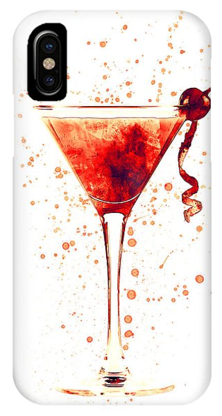 Martini iPhone Case - Cocktail Drinks Glass Watercolor Red by Michael Tompsett