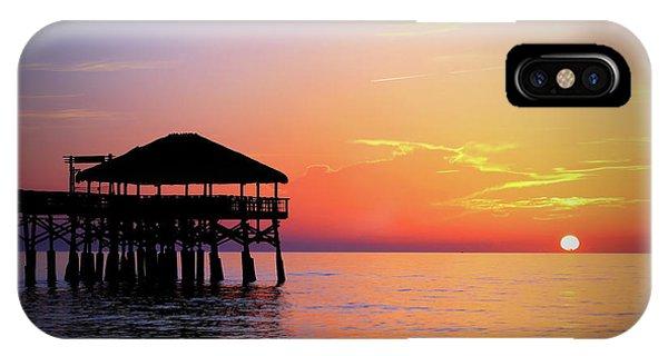 Tiki Bar iPhone Case - Cocoa Beach Pier's New Tiki Hut Sunrise by Carol Montoya