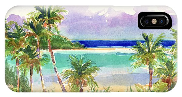 IPhone Case featuring the painting Coconut Palms And Lagoon, Aitutaki by Judith Kunzle