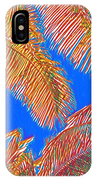 Coconut Palms In Red And Blue IPhone Case