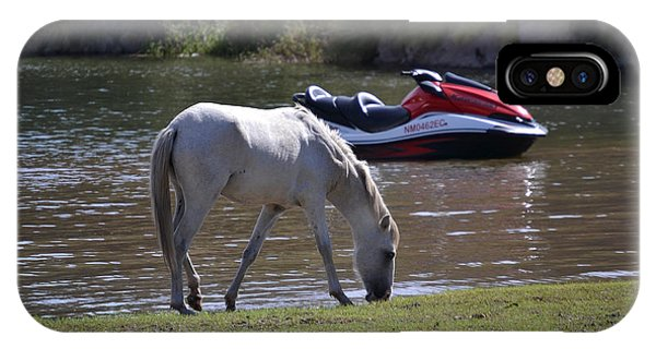 Jet Ski iPhone Case - Coexistence Salt River Wild Horses Tonto National Forest Number Two Jet Ski by Heather Kirk