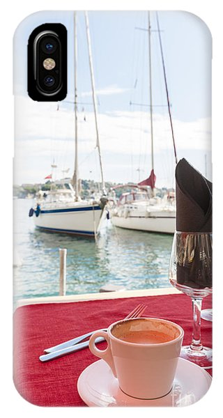 French Riviera iPhone Case - Coffee At Mediterranean Harbour by Elena Elisseeva
