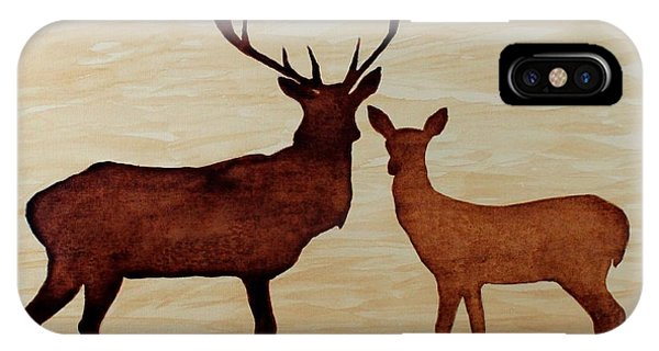 Coffee Painting Deer Love IPhone Case