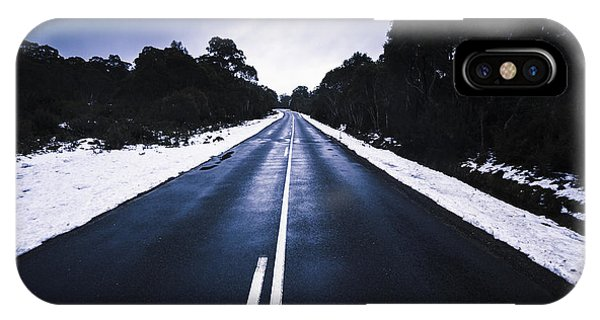 Snowy Road iPhone Case - Cold Blue Highway by Jorgo Photography - Wall Art Gallery