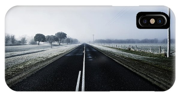 Cold Day iPhone Case - Cold Blue Winter Road by Jorgo Photography - Wall Art Gallery