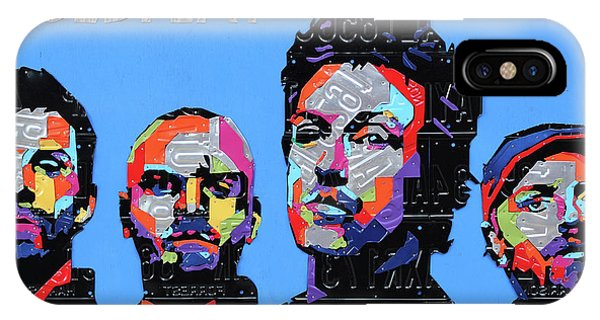 Coldplay iPhone Case - Coldplay Band Portrait Recycled License Plates Art On Blue Wood by Design Turnpike