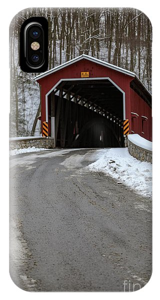 Colemansville Covered Bridge After Winter Snow IPhone Case