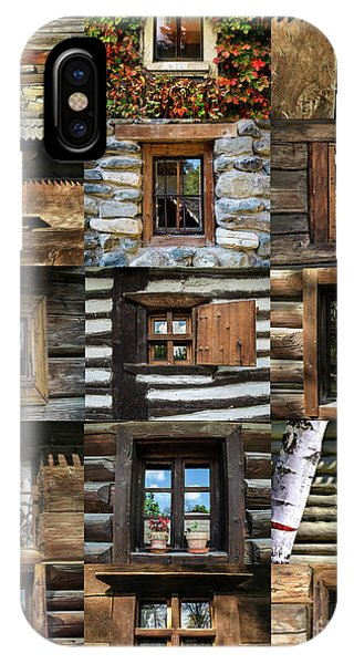 Collage From Handmade Traditional Wooden  Windows In Village Museum Bucharest IPhone Case