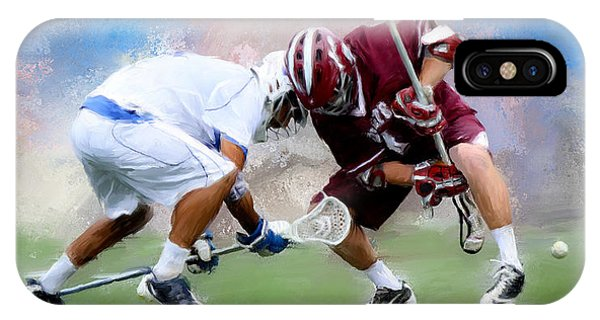 College Lacrosse Faceoff 4 Phone Case by Scott Melby
