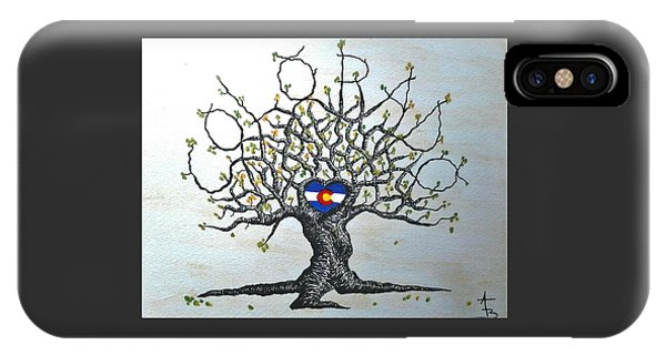 IPhone Case featuring the drawing Colorado Flag Love Tree by Aaron Bombalicki