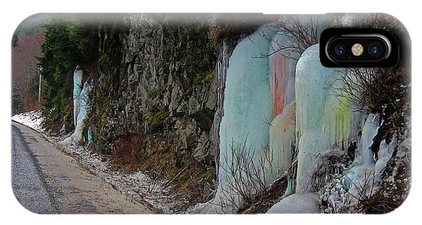 Colored Frozen Waterfalls Along The Skeena  IPhone Case