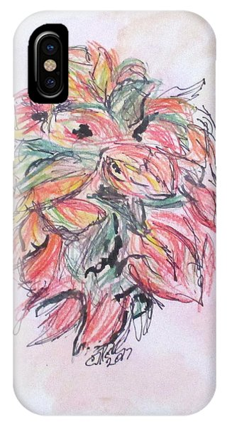 IPhone Case featuring the drawing Colored Pencil Flowers by Clyde J Kell
