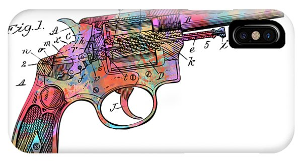 Weapons iPhone Case - Colorful 1896 Wesson Revolver Patent by Nikki Marie Smith