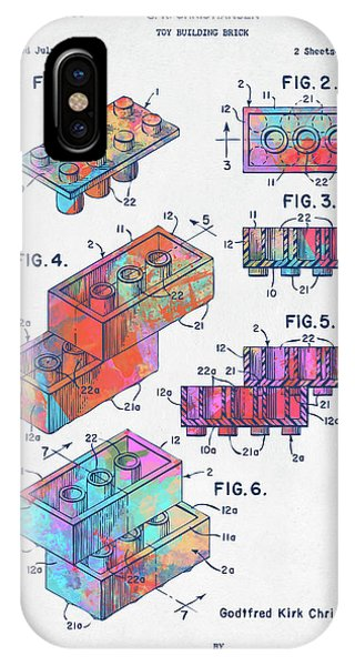 Bricks iPhone Case - Colorful 1961 Toy Building Brick Patent Art by Nikki Marie Smith