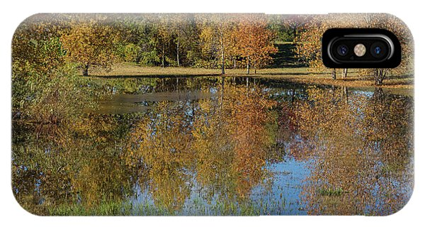 Colorful Autumn Pond Reflections IPhone Case