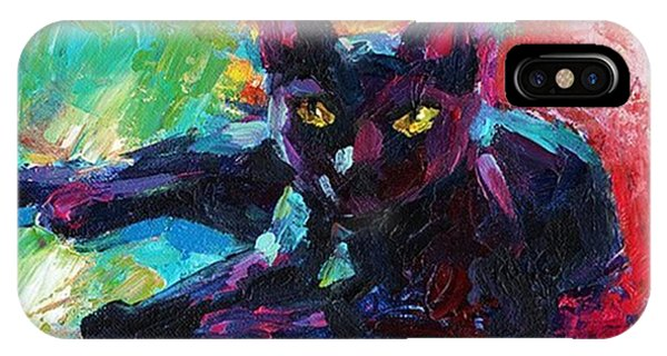 iPhone Case - Colorful Black Cat Painting By Svetlana by Svetlana Novikova