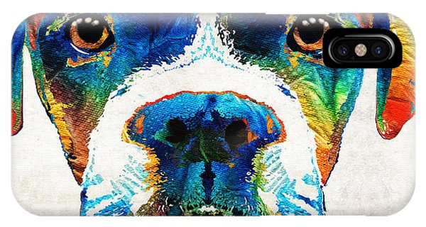 Pet Portrait iPhone Case - Colorful Boxer Dog Art By Sharon Cummings  by Sharon Cummings
