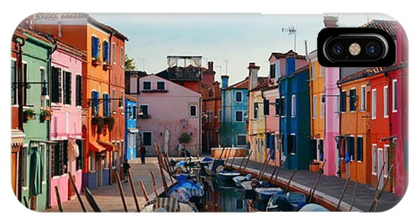 IPhone Case featuring the photograph Colorful Burano Canal Panorama View by Songquan Deng