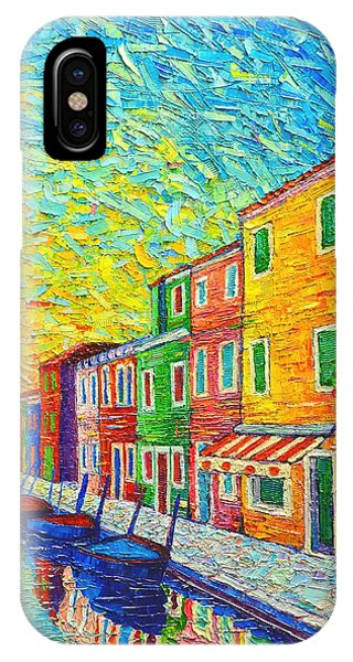 Colorful Burano Sunrise - Venice - Italy - Palette Knife Oil Painting By Ana Maria Edulescu IPhone Case
