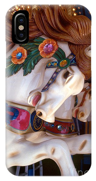 colorful carousel horse photograph - Romping Redhead IPhone Case