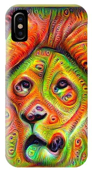 Colorful Crazy Lion Deep Dream IPhone Case