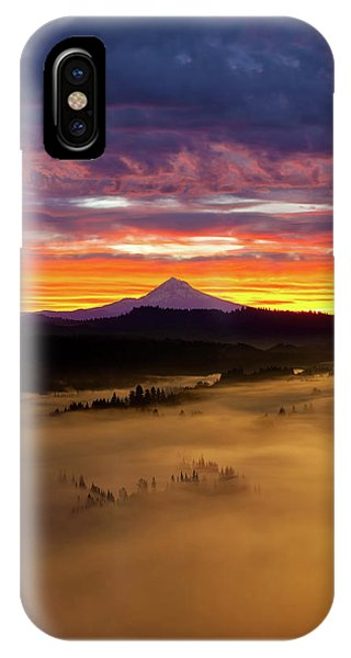 Colorful Foggy Sunrise Over Sandy River Valley IPhone Case