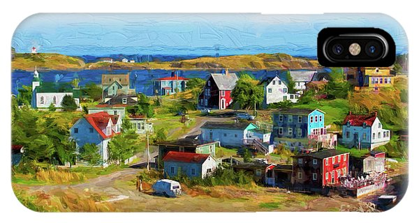 Colorful Homes In Trinity, Newfoundland - Painterly IPhone Case