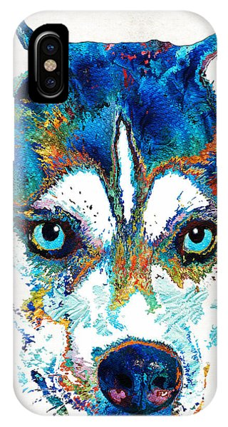 Sled Dog iPhone Case - Colorful Husky Dog Art By Sharon Cummings by Sharon Cummings