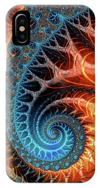 Colorful Luxe Fractal Spiral Turquoise Brown Orange IPhone Case