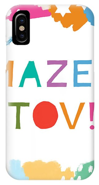 Bar Mitzvah iPhone Case - Colorful Mazel Tov- Art By Linda Woods by Linda Woods