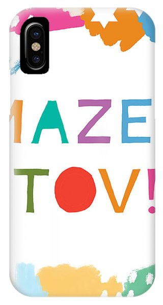 Bar iPhone Case - Colorful Mazel Tov- Art By Linda Woods by Linda Woods
