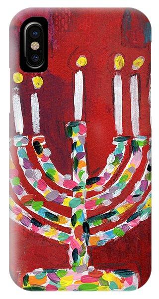 Colorful Menorah- Art By Linda Woods IPhone Case