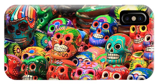 Colorful Mexican Day Of The Dean Ceramic Skulls IPhone Case