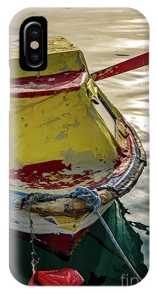 Colorful Old Red And Yellow Boat During Golden Hour In Croatia IPhone Case