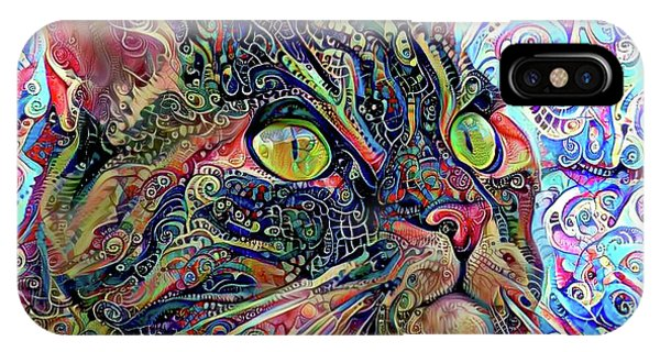 Colorful Psychedelic Cat Art IPhone Case