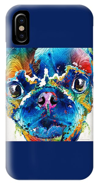 Pup iPhone Case - Colorful Pug Art - Smug Pug - By Sharon Cummings by Sharon Cummings