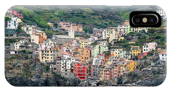 IPhone Case featuring the photograph  Colorful Riomaggiore Village At Cinque Terre, Italy by Michalakis Ppalis
