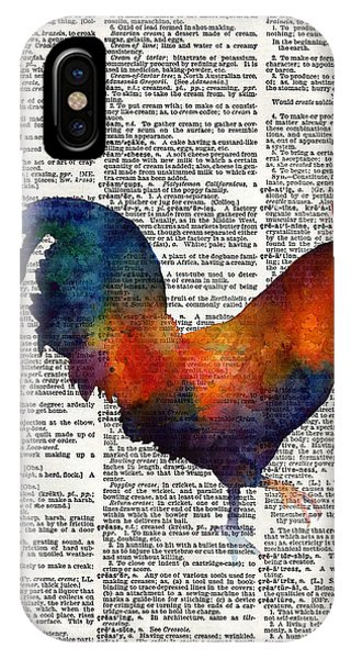 Bird Watercolor iPhone Case - Colorful Rooster On Vintage Dictionary by Hailey E Herrera