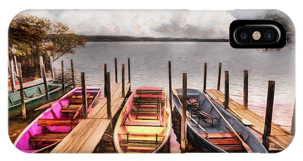iPhone Case - Colorful Rowboats At The Lake Pastels Oil Painting  by Debra and Dave Vanderlaan