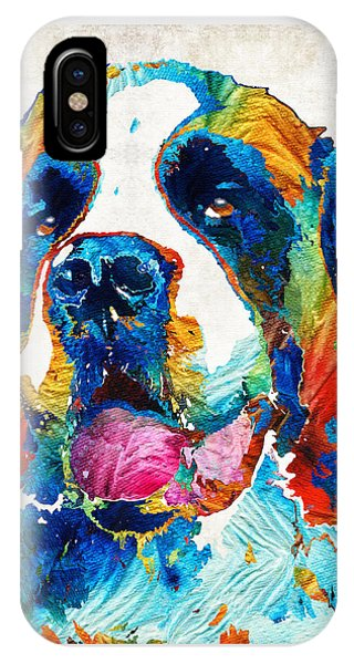 Colorful Saint Bernard Dog By Sharon Cummings IPhone Case