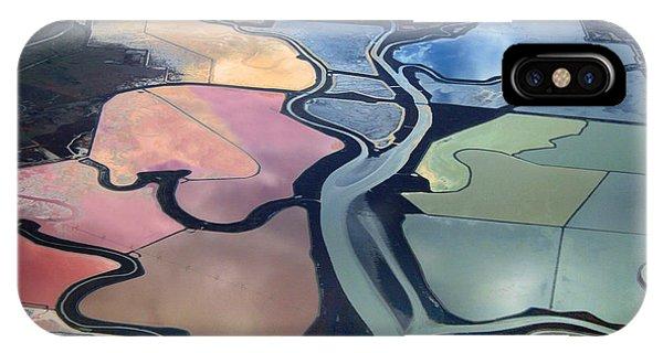 Colorful Salt Evaporation Ponds In San Franccisco Bay Area IPhone Case