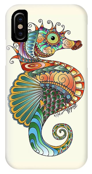 IPhone Case featuring the drawing Colorful Seahorse by Becky Herrera