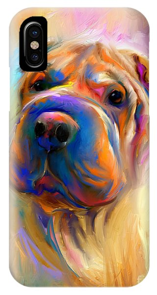 Colorful Shar Pei Dog Portrait Painting  IPhone Case