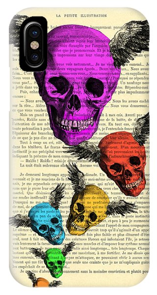 Wings iPhone Case - Colorful Rainbow Skull With Wings Illustration On Book Page by Madame Memento