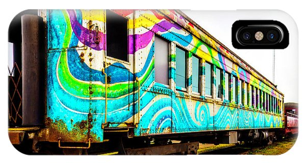 Passenger Train iPhone Case - Colorful Skunk Train Passenger Car by Garry Gay