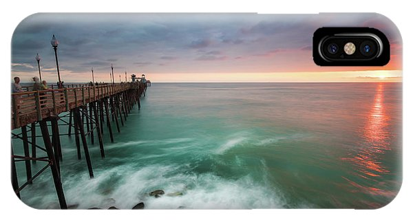 Pacific Ocean iPhone Case - Colorful Sunset At The Oceanside Pier by Larry Marshall