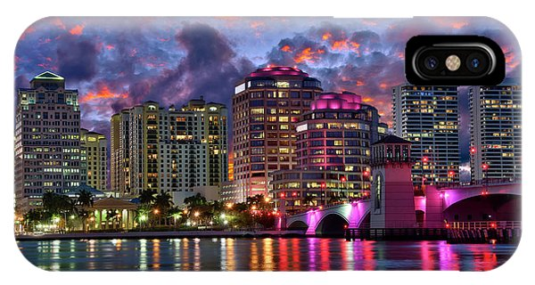 Colorful Sunset Over Downtown West Palm Beach Florida IPhone Case