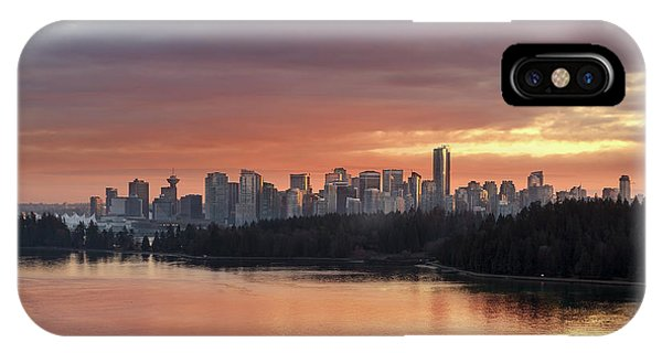 iPhone Case - Colorful Sunset Over Vancouver Bc Downtown Skyline by David Gn