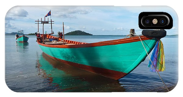 Colorful Turquoise Boat Near The Cambodia Vietnam Border IPhone Case
